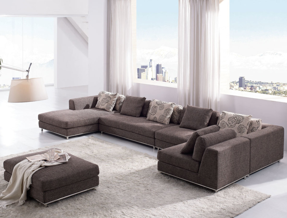 Attractive U Shaped Sectional Sleeper Sofa Brown Tone Over Sized Love Seat And Rectangle Upholstered Ottoman