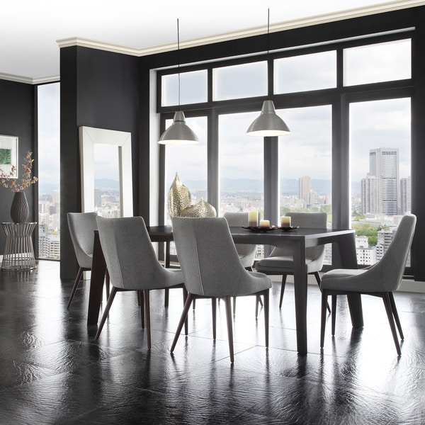 Attractive Upholstered Dining Chairs With Black Legs Sasha Mid Century Grey Fabric Upholstered Tapered Leg Dining