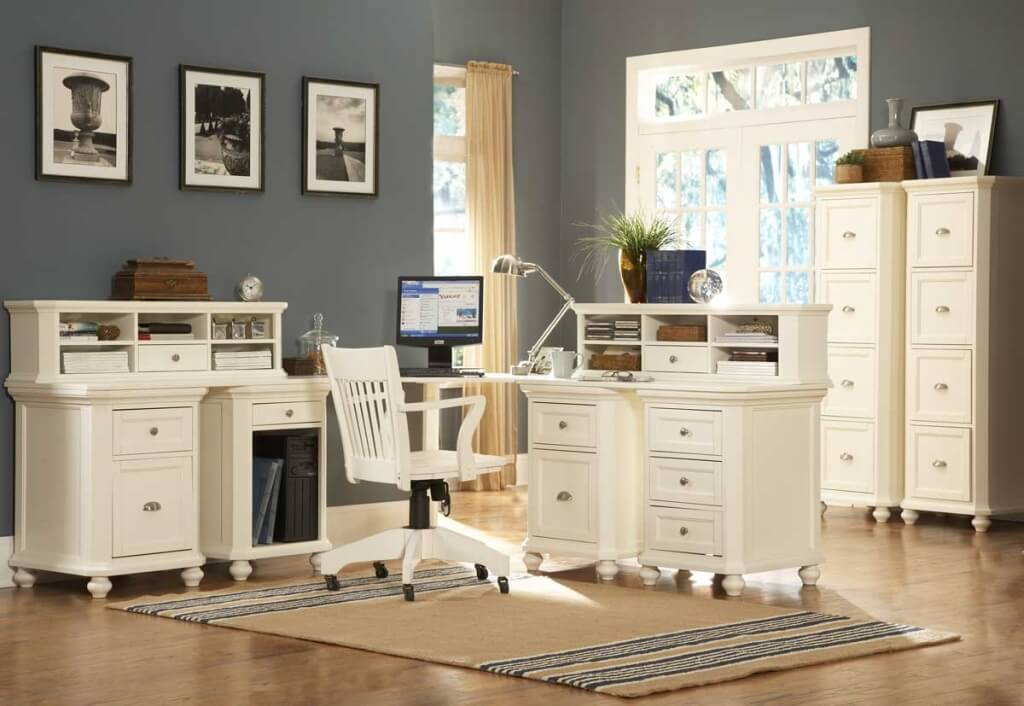 Attractive White Home Office Furniture Collections Furniture White Office Desk Furniture With Front Cover And Four