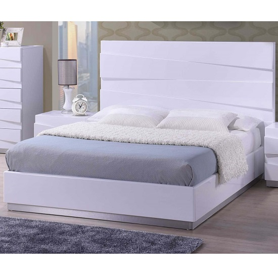 Attractive White King Size Bed Stirling King Size Bed In White High Gloss 26314 Furniture