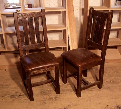 Attractive Wood Dining Chairs With Leather Seats Buy Hand Crafted Reclaimed Oak Rustic Mission Dining Chairs With