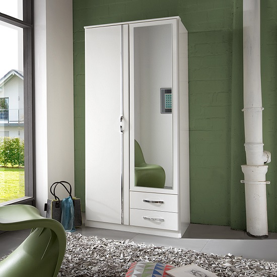 Awesome 2 Door Mirrored Wardrobe White Candice Mirror Wardrobe In Alpine White Chrome With 2 Doors