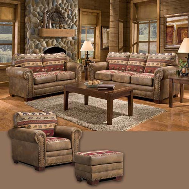 Awesome 4 Piece Leather Living Room Set American Furniture Classics Sierra Lodge 4 Piece Living Room Set