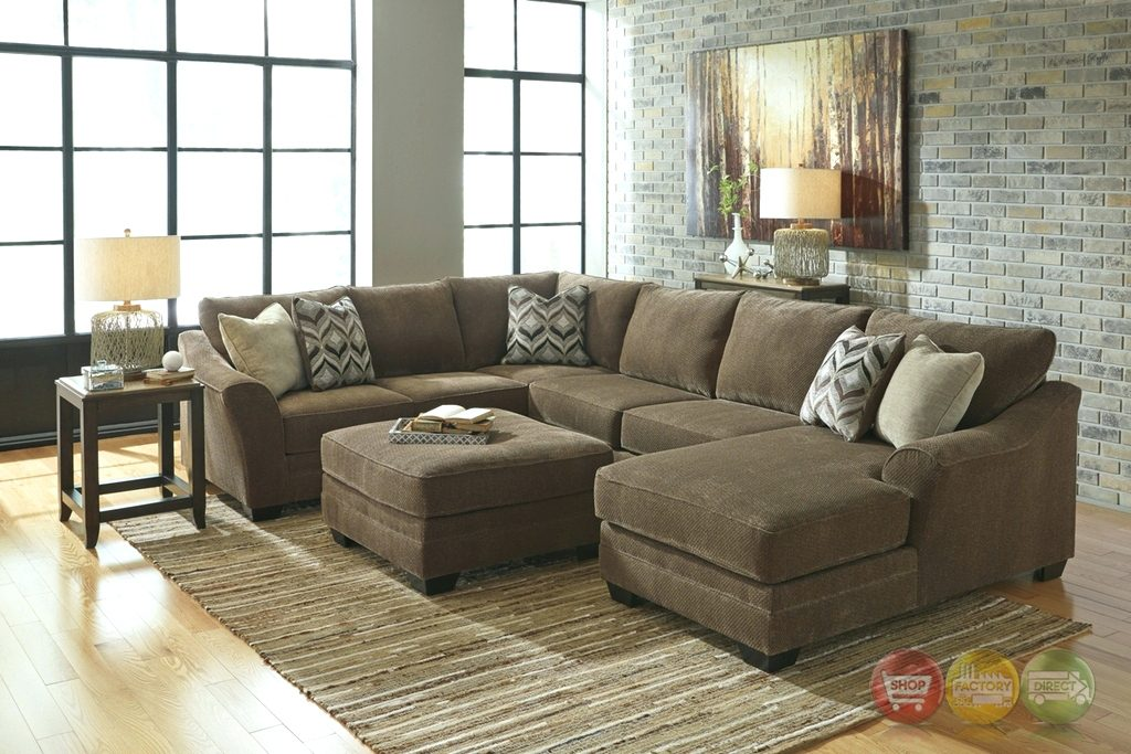 Awesome Ashley Corduroy Sectional Sofa Sectional Aedesia Waffle Reversible Sectional Brown Corduroy