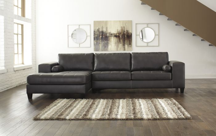 Awesome Ashley Two Piece Sectional Signature Design Ashley Nokomis Charcoal 2 Piece Sectional Sofa