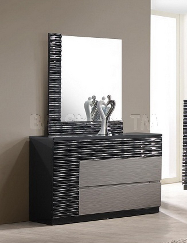 Awesome Bedroom Dresser With Mirror Roma Black And Grey Lacquer Dresser With Mirror 99000