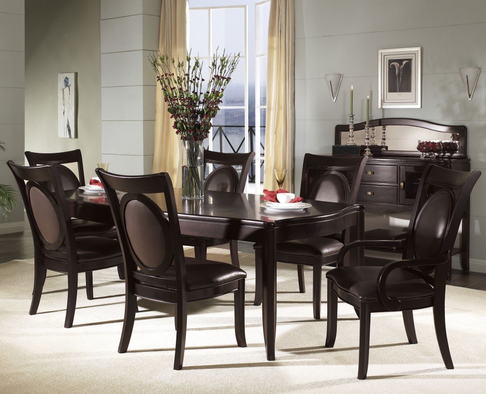 Awesome Black Brown Dining Chairs Furniture Minimalist Kitchen Table Dinette Sets Modern Brown
