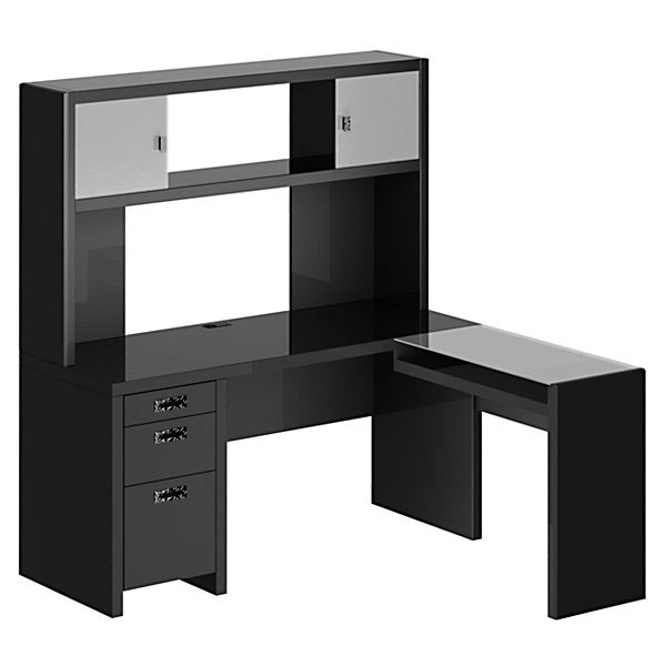 Awesome Black L Shaped Desk Best 25 Corner Desk With Hutch Ideas On Pinterest L Shaped Black