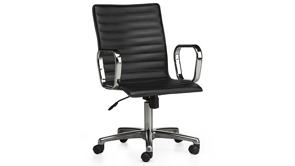 Awesome Black Leather Office Chair Ripple Black Leather Office Chair Crate And Barrel