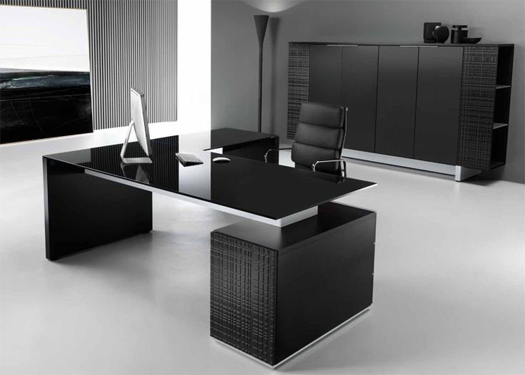 Awesome Black Office Furniture Modi Executive Pedestal Desk Black Glass Top Office Decoration
