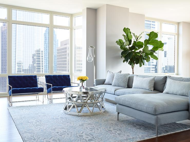Awesome Blue And Gray Accent Chairs Gray Sofa With Chaise Lounge And Blue Velvet Accent Chairs