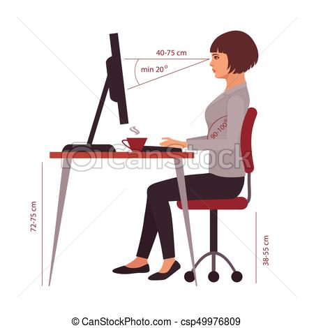 Awesome Computer Desk Posture Vector Clipart Of Correct Sitting Position Office Desk Posture