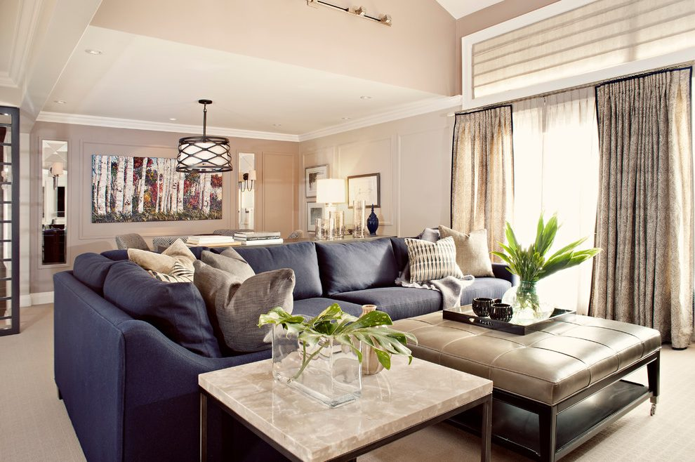 Awesome Contemporary Navy Blue Sectional Sofa Modern Navy Blue Sectional Family Room Transitional With Wool