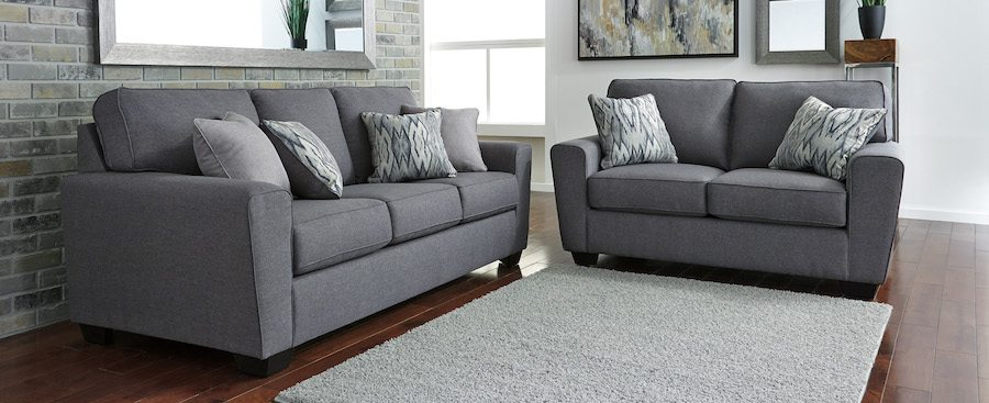 Awesome Contemporary Sofa And Loveseat Contemporary Sofa Loveseat In Grey Linen Weave Sam Levitz Furniture
