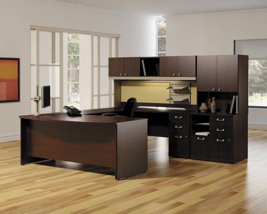 Awesome Dark Wood Office Desk Apartments Modern Home Office Furniture Set Design With Dark Wood