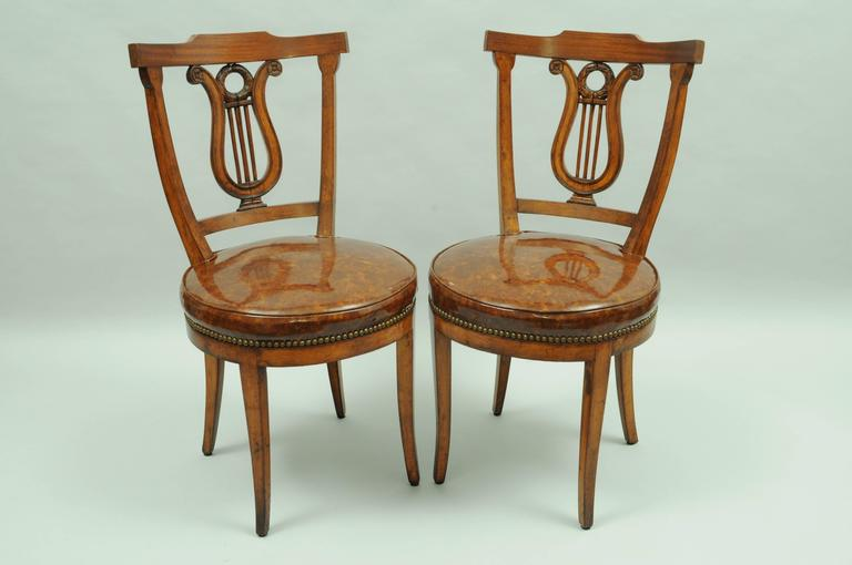 Awesome Dining Side Chairs Set Of Four Carved Harp Lyre Back Regency Neoclassical Style