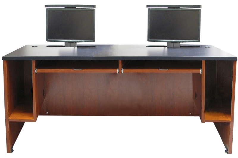 Awesome Double Computer Desk Workstation Ds 7230 Dual User Desk Two Monitor Lifts Exact Furniture Av Iq