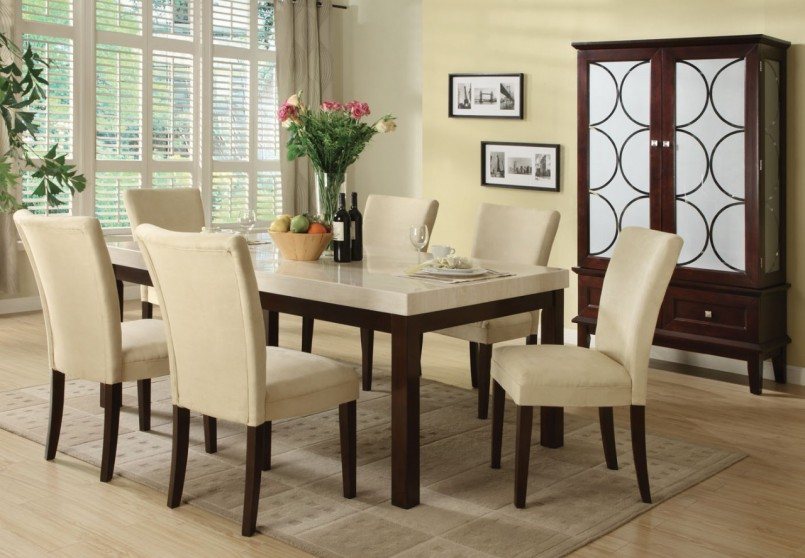 Awesome Ivory Kitchen Chairs Dining Room Ivory White Dining Room Set With Leather Dining