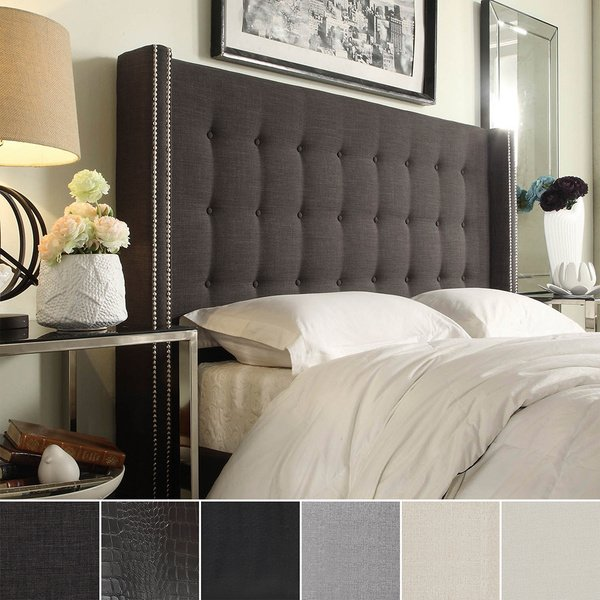 Awesome King Size Head Boards Shop Marion Nailhead Wingback Tufted King Size Headboard Inspire
