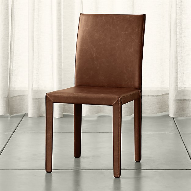 Awesome Leather And Wood Dining Chairs Folio Sienna Top Grain Leather Dining Chair Crate And Barrel