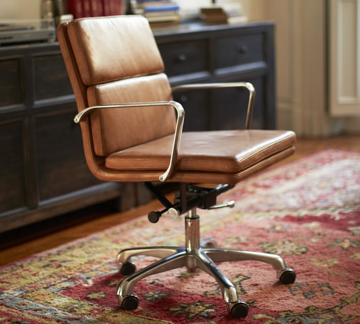 Awesome Leather Computer Chair Nash Leather Swivel Desk Chair Pottery Barn