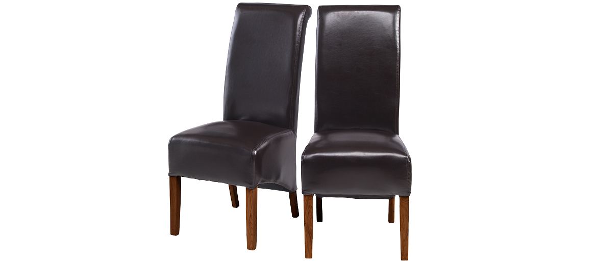 Awesome Leather Covered Dining Chairs Cube Bonded Leather Dining Chairs Brown Pair Quercus Living