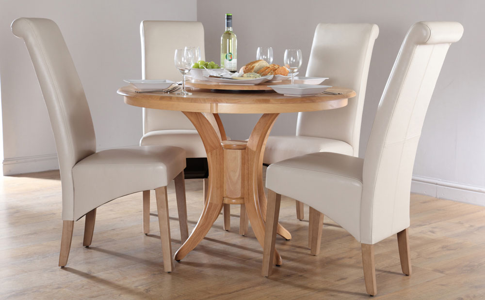 Awesome Leather Dining Chairs Set Of 4 Round Dining Table Set For 4 Homesfeed