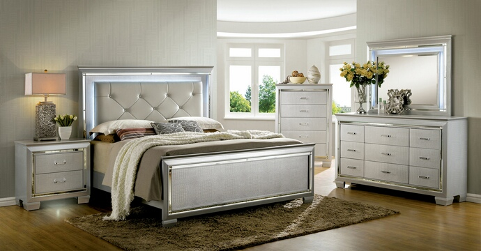 Awesome Leather Headboard Queen Bedroom Set Cm7979sv 5 Pc Bellanova Collection Silver Finish Wood Queen Bed Set