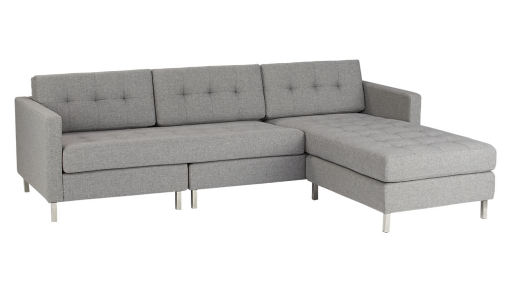 Awesome Light Grey Sectional Couch Ditto Ii Button Tufted Sectional Sofa Cb2