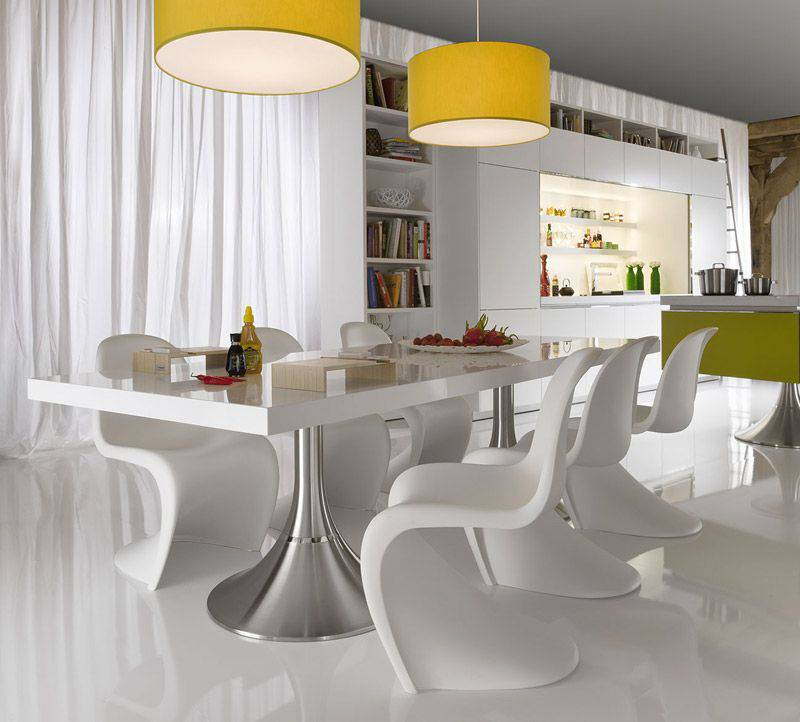 Awesome Modern White Kitchen Table Modern Dining Room Table Designs Trellischicago