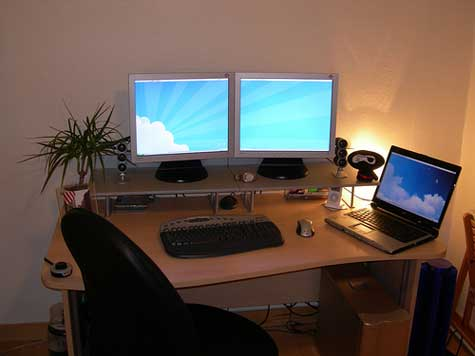 Awesome Multi Monitor Desk Top Five Home Office Desks For Multiple Monitors Furniture