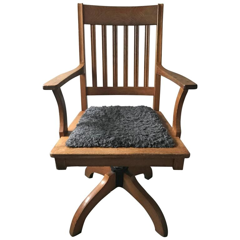 Awesome Oak Office Chair 1925 Swedish Tiltable Oak Office Chair With Faux Sheep Fur For