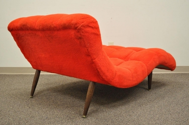 Awesome Orange Chaise Lounge Indoor Orange Whitedouble Wide Chaise Lounge Sectional With Curved Tufted