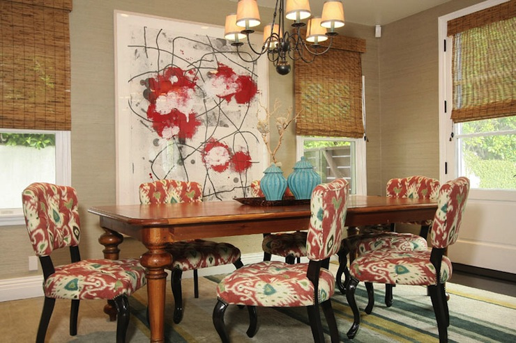 Awesome Red Upholstered Dining Room Chairs Ikat Dining Chairs Contemporary Dining Room Jenn Feldman Designs