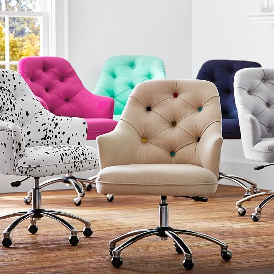 Awesome Rolling Desk Chair Twill Tufted Desk Chair Pbteen