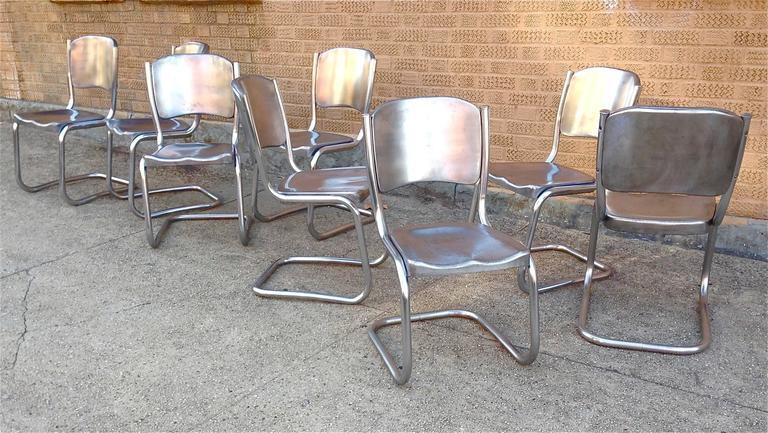 Awesome Steel Dining Chairs Two Sets Of Four Tubular Brushed Steel Dining Chairs For Sale At