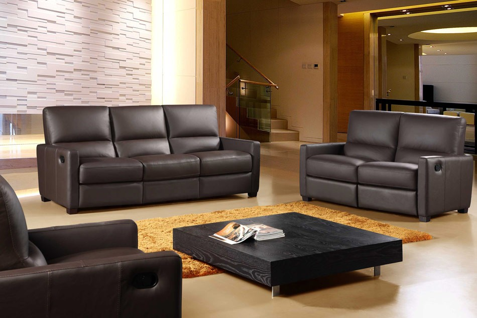 Awesome Three Piece Leather Living Room Set 3 Piece Reclining Living Room Set 641 Full Italian Leather 3 Piece