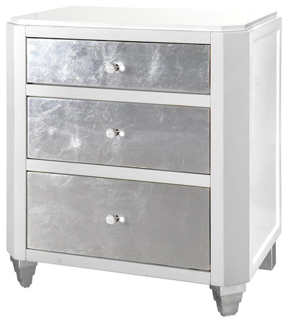 Awesome White And Silver Nightstand Myrna Hollywood Regency White Lacquer Silver Leaf Nightstand