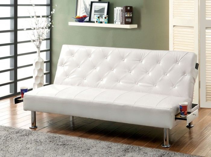 Awesome White Leather Futon Sofa Farel Futon Sofa In White Gray Black Or Red W Pull Out Cup Holders