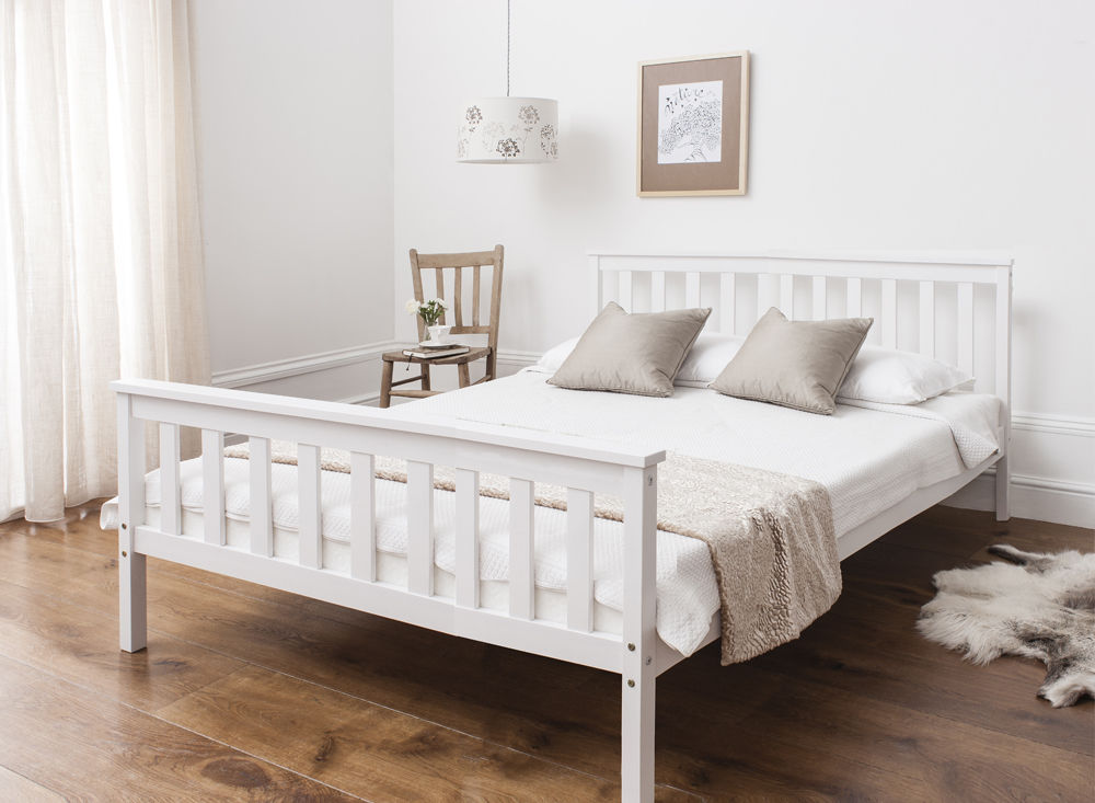 Awesome White Wooden Bed Frame Double Bed In White 46 Wooden Frame White Ebay