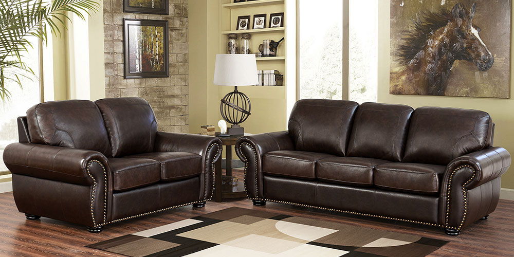 Beautiful 2 Piece Leather Living Room Set Breckenridge Costco