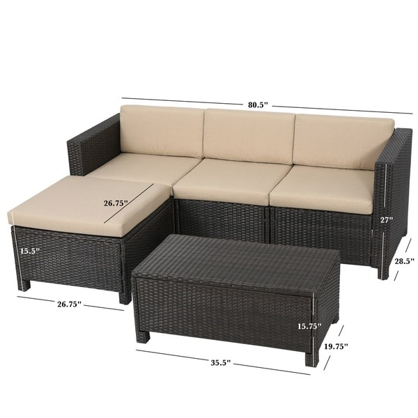 Beautiful 5 Piece Sectional Couch Outdoor Puerta Pe Wicker L Shaped Sectional 5 Piece Sofa Set With