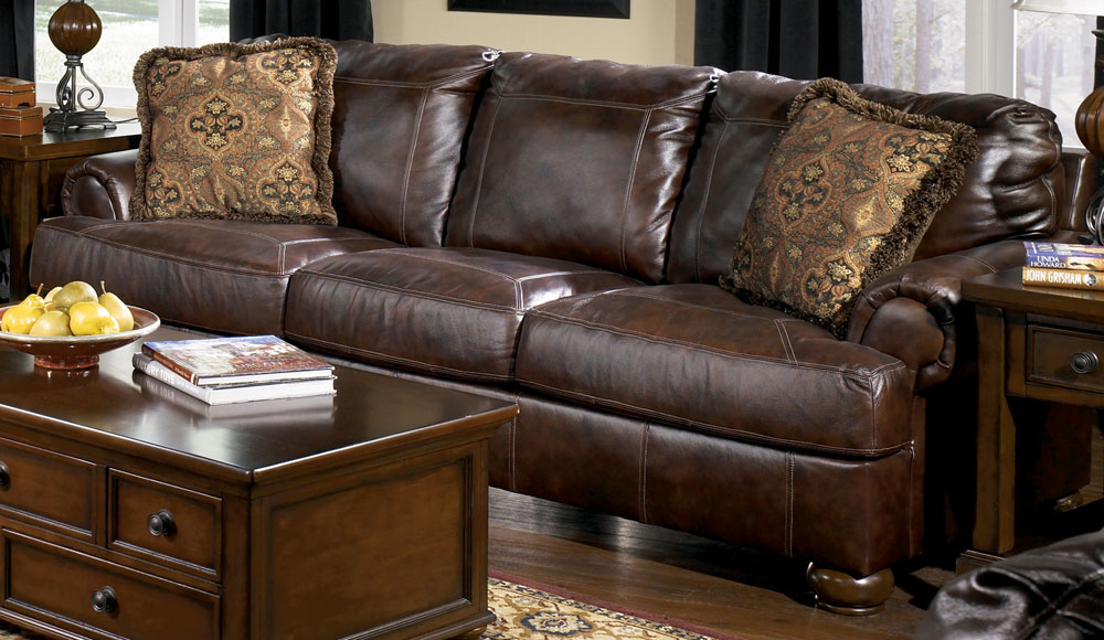 Beautiful Ashley Furniture Leather Couch And Loveseat Reverse Auction Ashley Furniture Axiom Walnut Leather Sofa