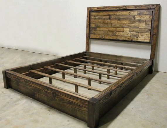 Beautiful California King Wood Platform Bed Frame Rustic Platform Bed Headboard Queen Jamesandjames On Etsy
