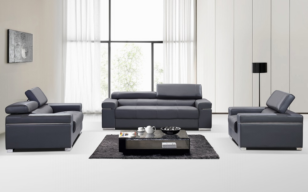 Beautiful Contemporary Grey Leather Sofa Contemporary Grey Italian Leather Sofa Set With Adjustable