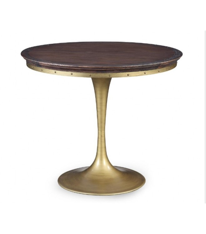 Beautiful Dark Wood Round Table Dark Wood Dining Table Brass Tubular Base