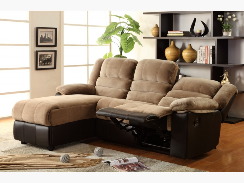 Beautiful Grey Leather Chaise Lounge Two Tone Sectional Sofa With One Reclining Seat And Chaise Lounge