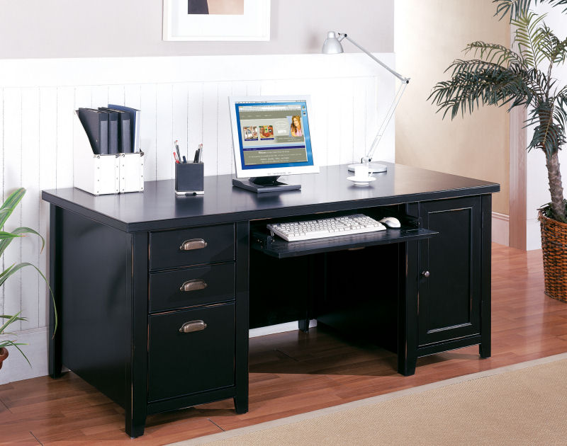 Beautiful Home Office Desktop Computer Tribeca Loft Black Double Pedestal Computer Desk