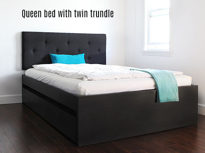 Beautiful Ikea Queen Size Bed And Mattress How To Build A Queen Bed With Twin Trundle Ikea Hack