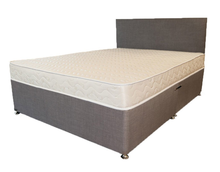 Beautiful King Bed Frame Only Premium Grey Linen 5ft King Size Divan Bed Base Only